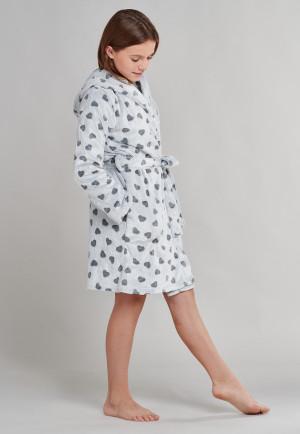 Bademantel mit Kapuze Plüsch Herzen grau - Pyjama Party