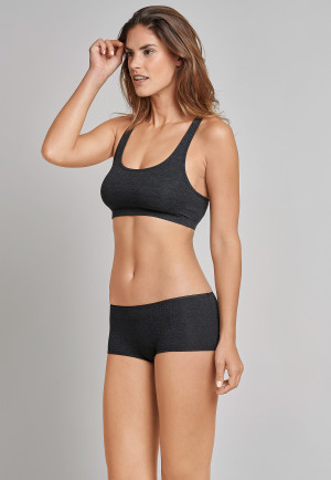Bustier mit Cups Doppelrippe Racerback anthrazit - Personal Fit Rippe
