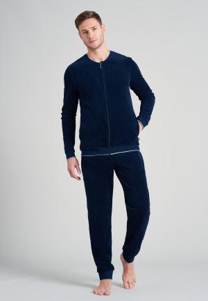 Hausanzug lang Velours Bündchen Streifen nachtblau - Warming Nightwear
