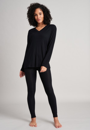 Long shirt long double rib V-neck black - Mix & Relax