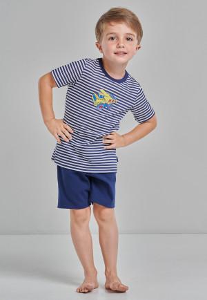 Pajamas short organic cotton stripes construction vehicle dark blue – Original Classics