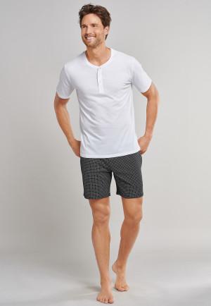 Shirt short-sleeve Jersey button placket white - Mix & Relax