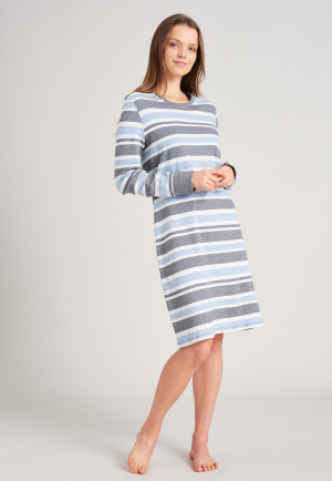 Sleepshirt langarm Bündchen Ringel hellblau - Sportive Stripes