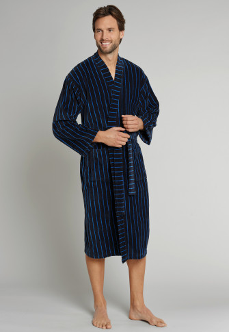 Velveteen bathrobe dark blue striped - Selected! Premium