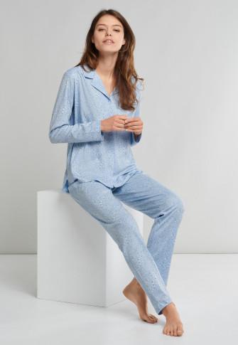 Pajama long interlock button placket light blue - Comfort Fit
