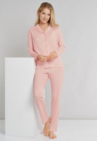 Pajama long interlock button placket pink - Comfort Fit