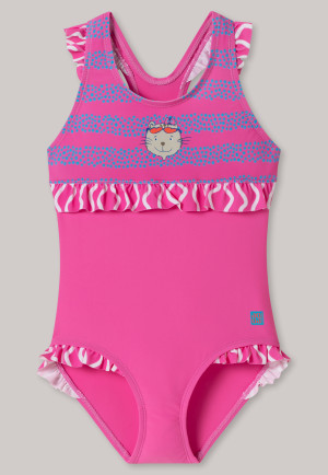 Badeanzug Wirkware recycelt LSF40+ Katze Bubble Rüschen pink - Cat Zoe