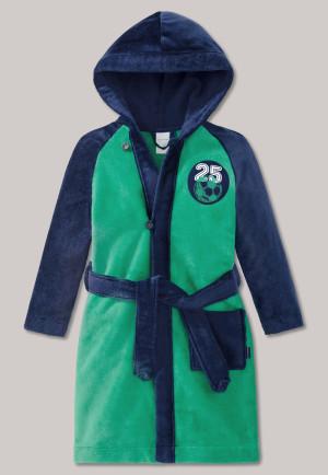 Bathrobe terry woven velours soccer green/midnight blue - Boys World