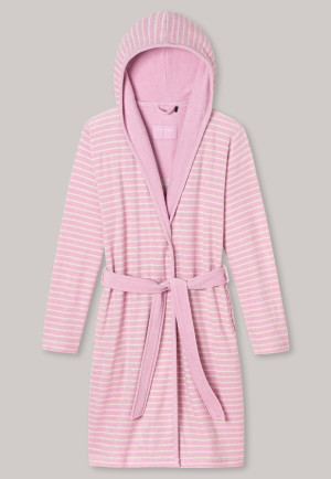 Bathrobe with hood light terry cloth pink striped - selected! premium