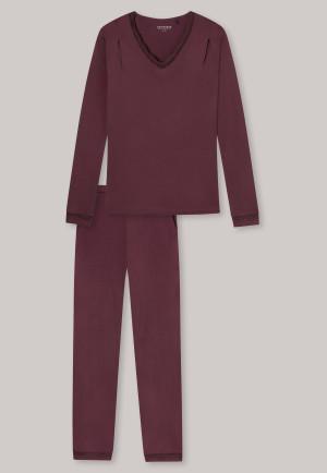 Schlafanzug lang Modal Spitze V-Ausschnitt burgund - selected! premium
