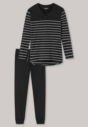 Pajamas long stripes cuffs black - selected! premium inspiration