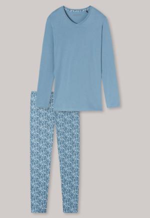 Schlafanzug lang weitere Passform V-Ausschnitt hellblau - Essentials Comfort Fit