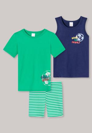 Schlafanzug Set 3-teilig Fußball Ringel grün/dunkelblau - Boys World