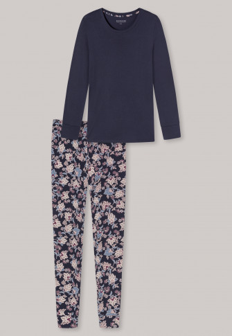 Schlafanzug lang Interlock Bündchen dunkelblau - Feminine Floral Comfort Fit