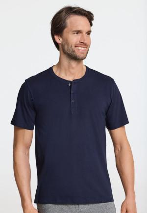 Short-sleeved shirt button placket dark blue - Mix & Relax