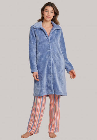 Fleecemantel Knopfleiste Kragen jeansblau - selected! premium inspiration